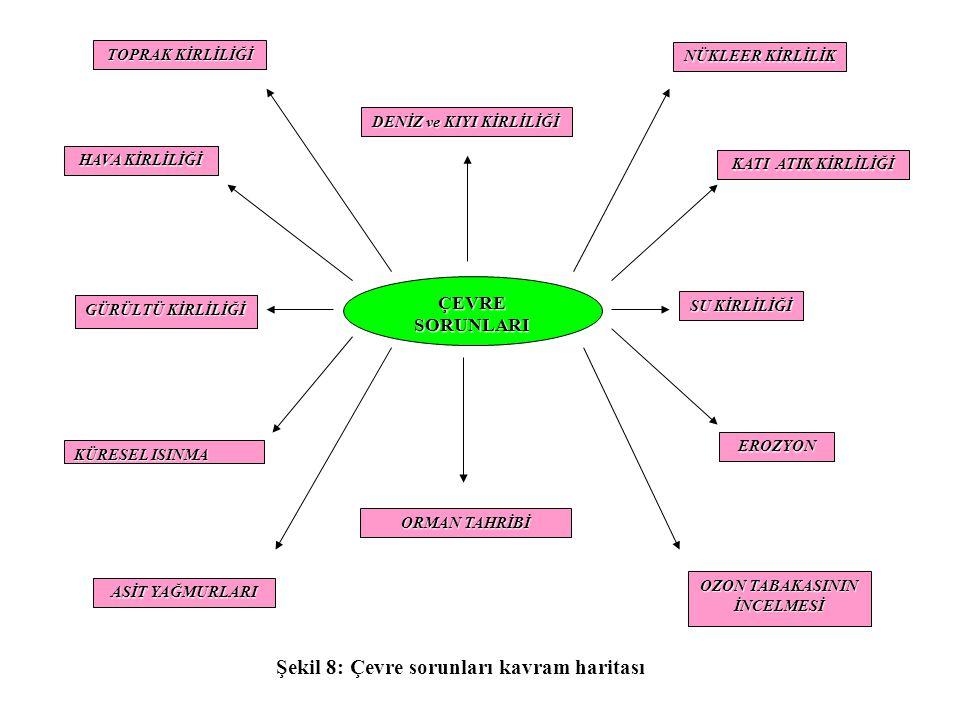 DENİZ ve KIYI KİRLİLİĞİ Şekil 8: Çevre sorunları kavram haritası