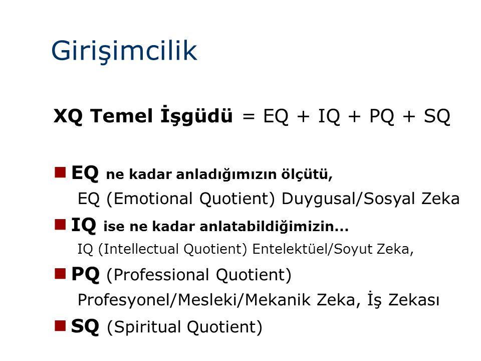 Girişimcilik XQ Temel İşgüdü = EQ + IQ + PQ + SQ