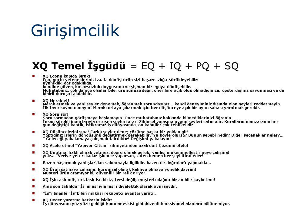 Girişimcilik XQ Temel İşgüdü = EQ + IQ + PQ + SQ 22 22