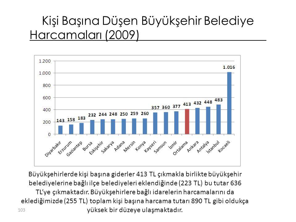 Kişi Başına Düşen Büyükşehir Belediye Harcamaları (2009)