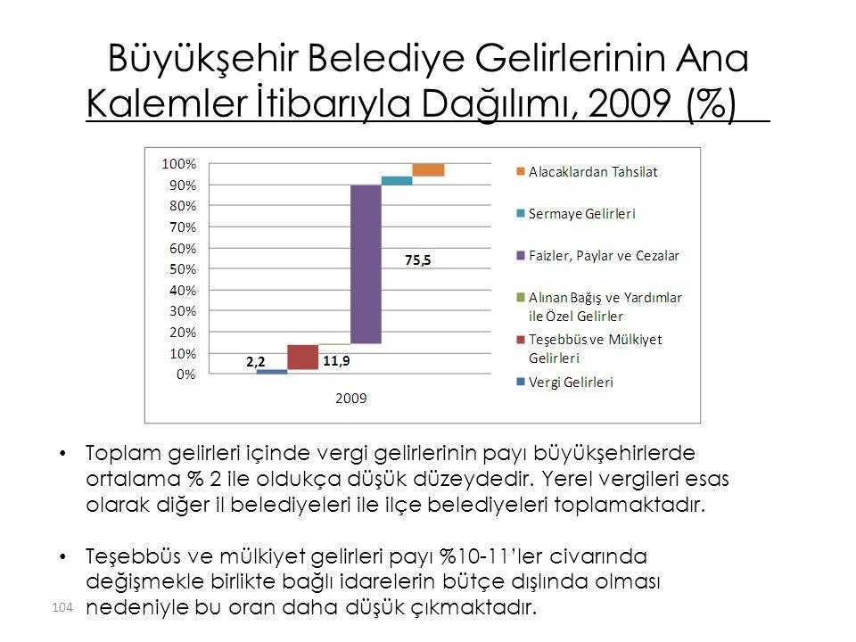 Büyükşehir Belediye Gelirlerinin Ana Kalemler İtibarıyla Dağılımı, 2009 (%)