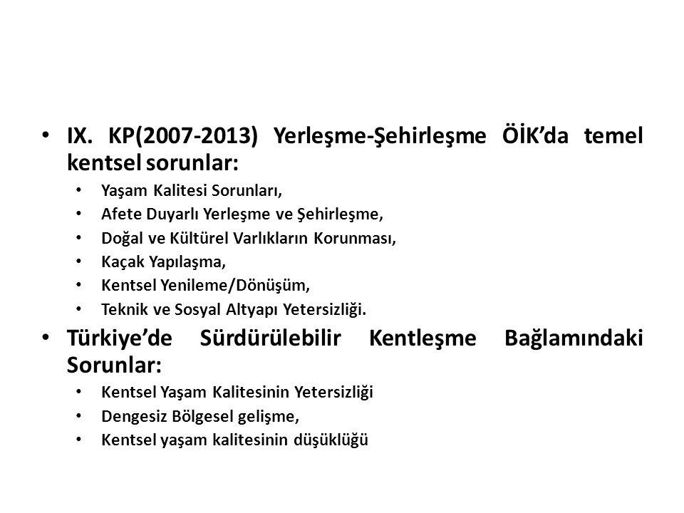 IX. KP(2007-2013) Yerleşme-Şehirleşme ÖİK'da temel kentsel sorunlar: