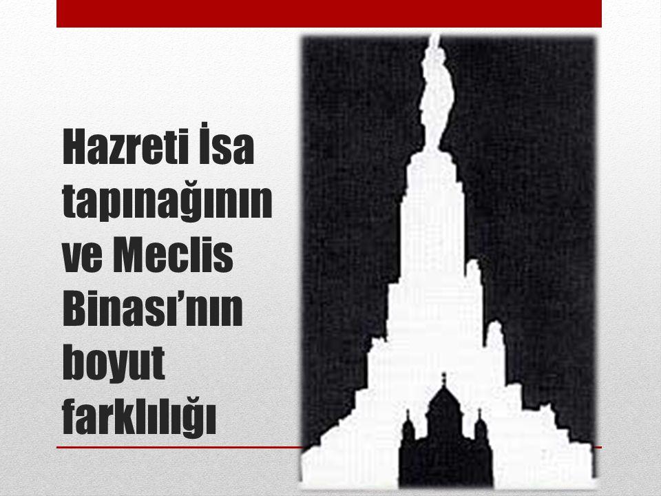 Hazreti İsa tapınağının ve Meclis Binası'nın boyut farklılığı