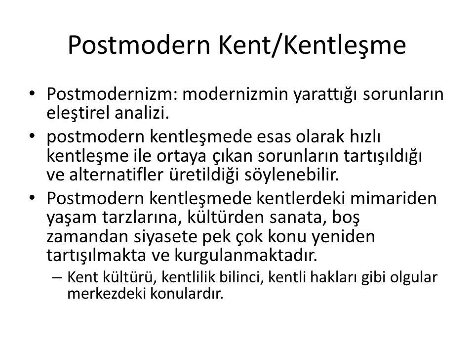 Postmodern Kent/Kentleşme