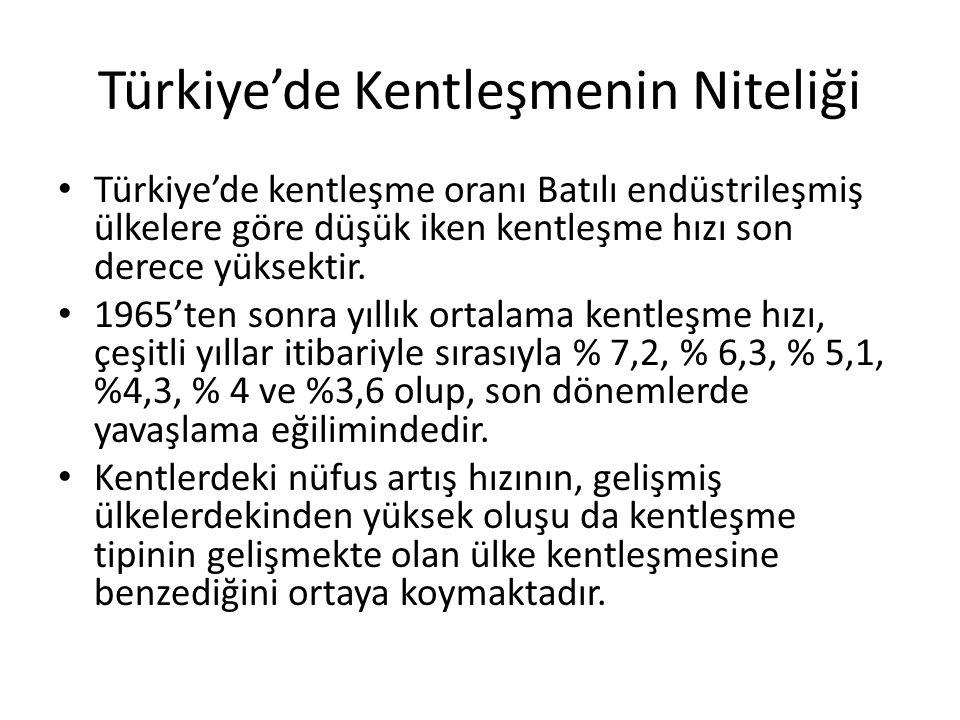 Türkiye'de Kentleşmenin Niteliği