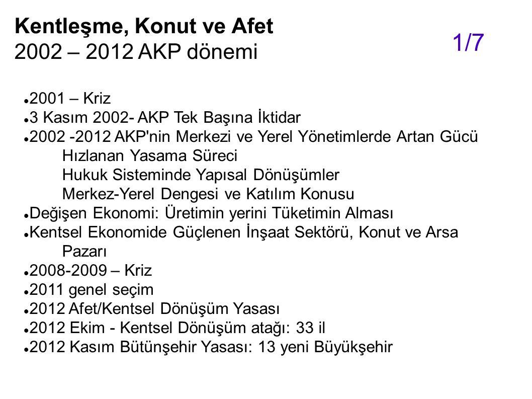 1/7 Kentleşme, Konut ve Afet 2002 – 2012 AKP dönemi 2001 – Kriz