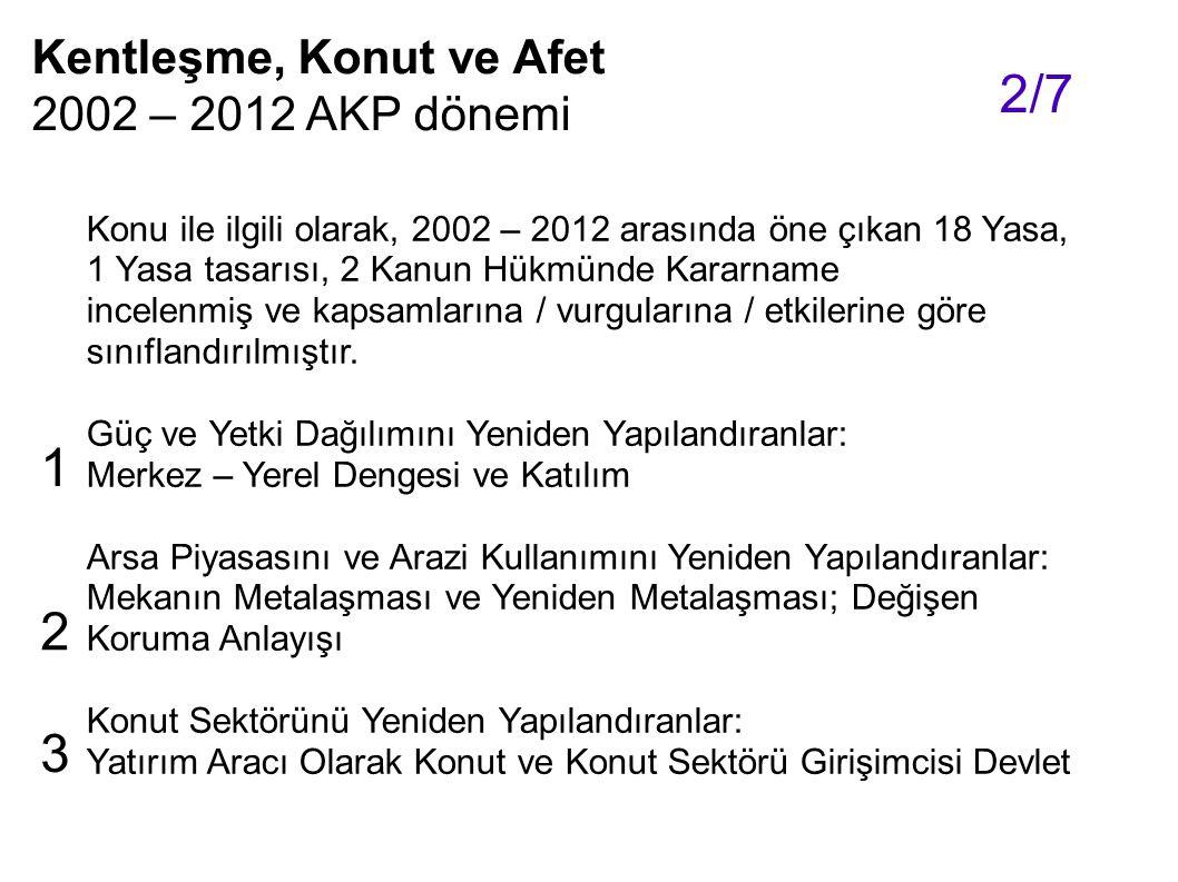 2/7 1 2 3 Kentleşme, Konut ve Afet 2002 – 2012 AKP dönemi