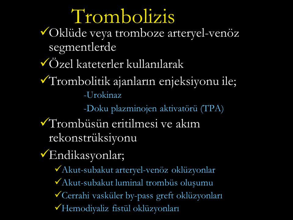 Trombolizis Oklüde veya tromboze arteryel-venöz segmentlerde