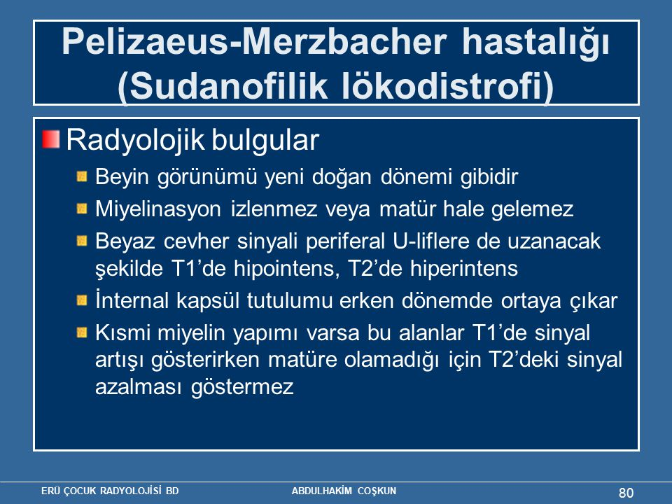 Pelizaeus-Merzbacher hastalığı (Sudanofilik lökodistrofi)