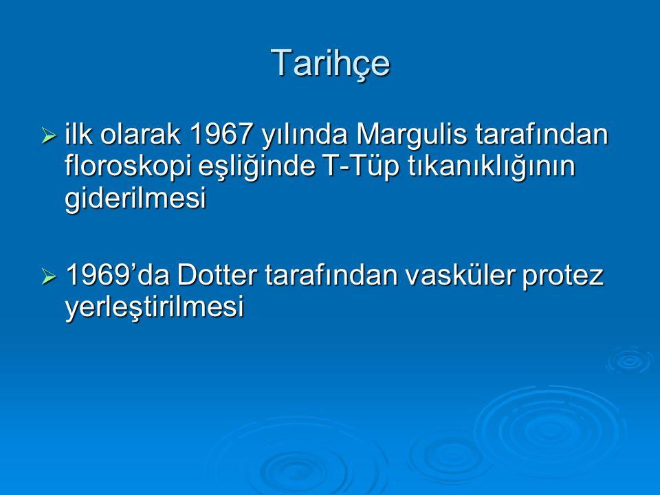 Tarihçe ilk olarak 1967 yılında Margulis tarafından floroskopi eşliğinde T-Tüp tıkanıklığının giderilmesi.