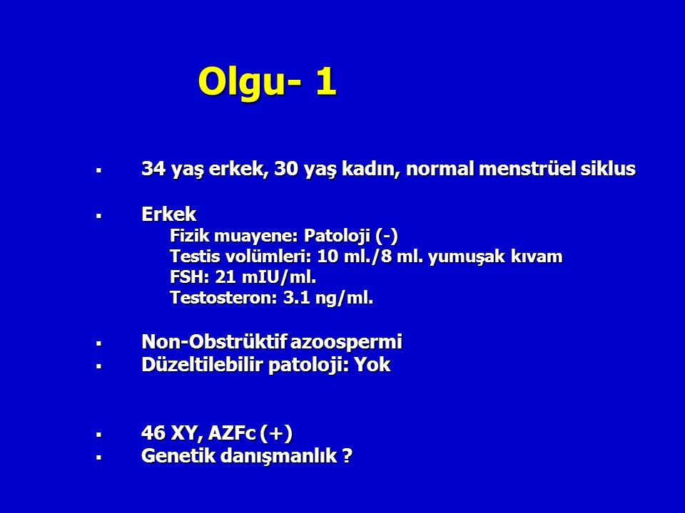 Olgu- 1 34 yaş erkek, 30 yaş kadın, normal menstrüel siklus Erkek