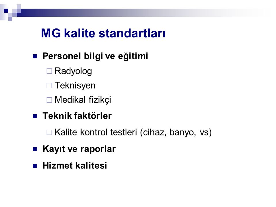MG kalite standartları