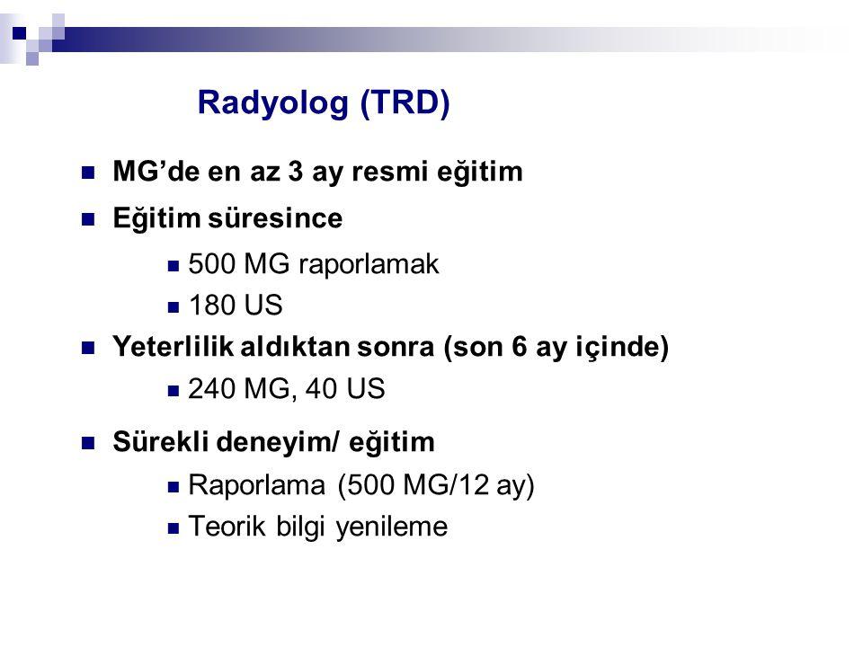 Radyolog (TRD) MG'de en az 3 ay resmi eğitim Eğitim süresince