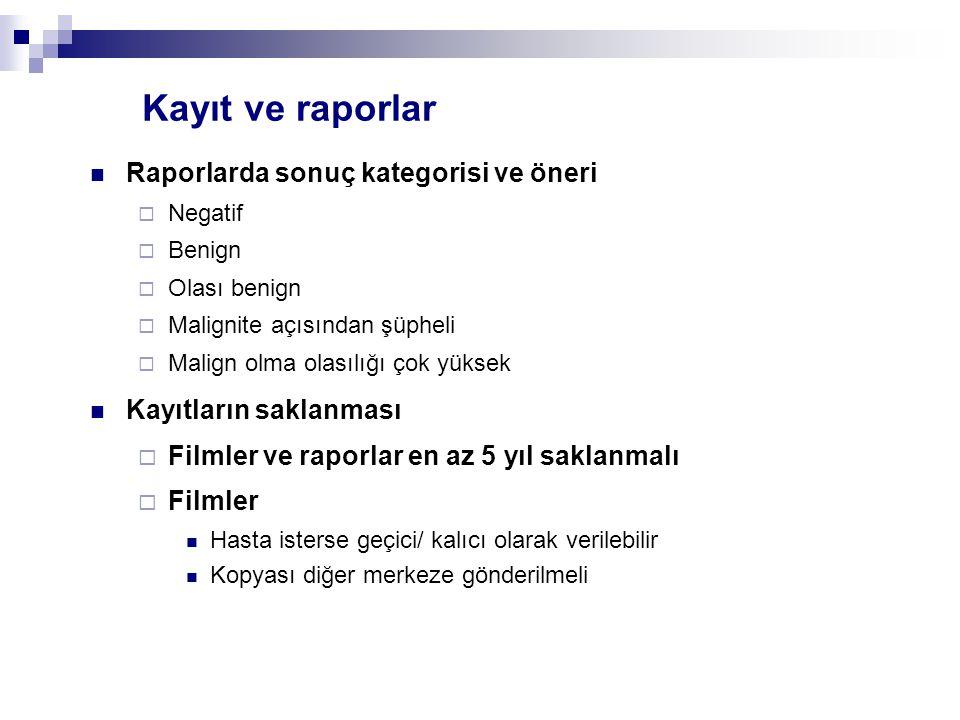 Kayıt ve raporlar Raporlarda sonuç kategorisi ve öneri