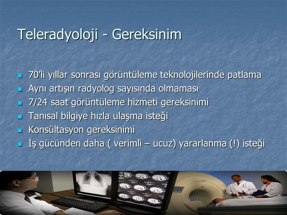 Teleradyoloji - Gereksinim