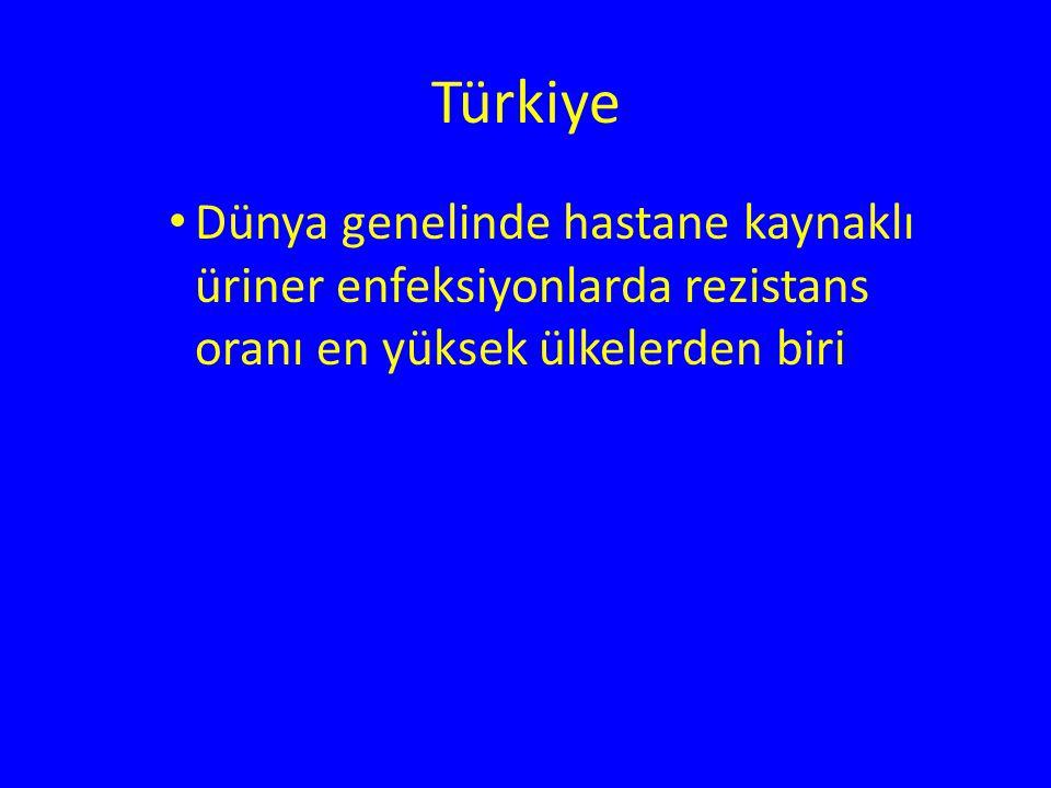 Türkiye Dünya genelinde hastane kaynaklı üriner enfeksiyonlarda rezistans oranı en yüksek ülkelerden biri.