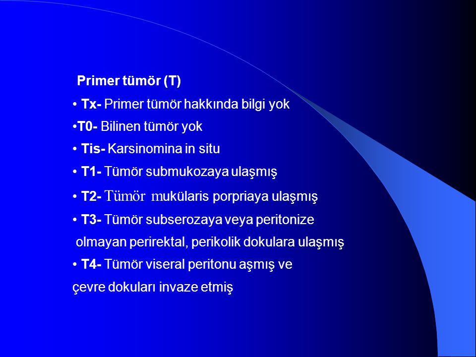 Primer tümör (T) • Tx- Primer tümör hakkında bilgi yok