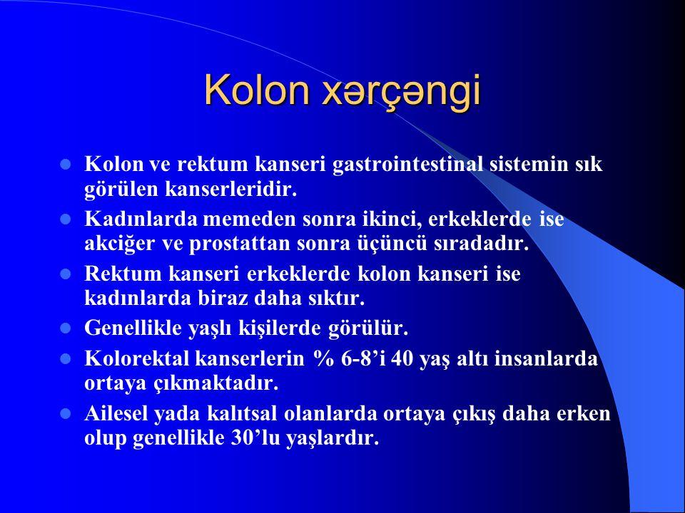 Kolon xərçəngi Kolon ve rektum kanseri gastrointestinal sistemin sık görülen kanserleridir.