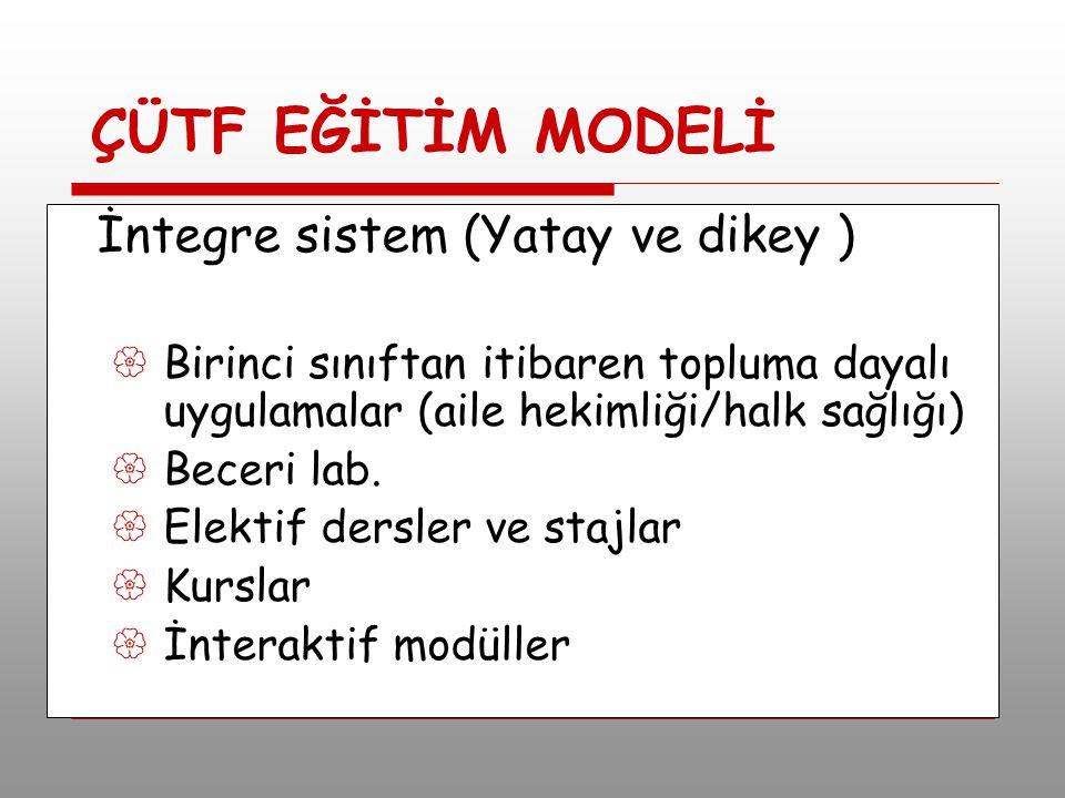 ÇÜTF EĞİTİM MODELİ İntegre sistem (Yatay ve dikey )