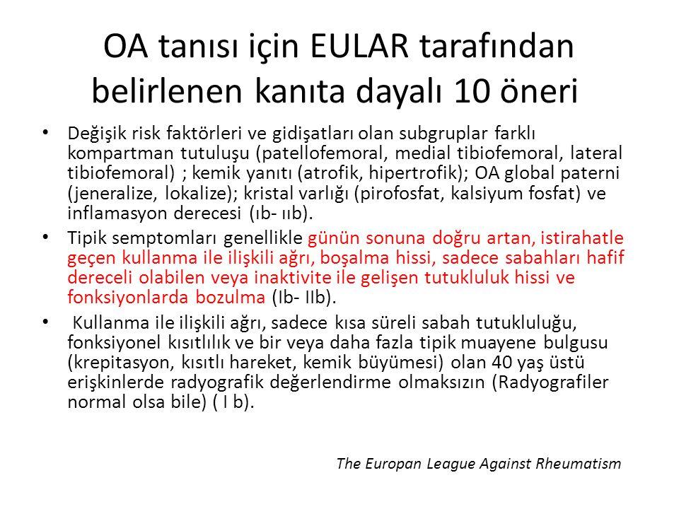 OA tanısı için EULAR tarafından belirlenen kanıta dayalı 10 öneri