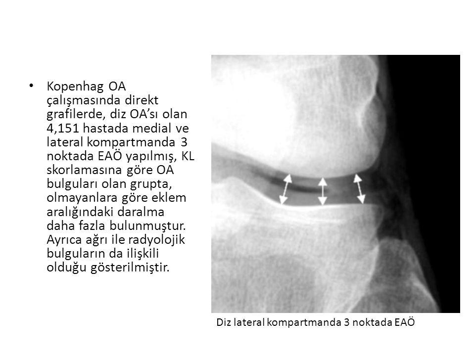 Kopenhag OA çalışmasında direkt grafilerde, diz OA'sı olan 4,151 hastada medial ve lateral kompartmanda 3 noktada EAÖ yapılmış, KL skorlamasına göre OA bulguları olan grupta, olmayanlara göre eklem aralığındaki daralma daha fazla bulunmuştur. Ayrıca ağrı ile radyolojik bulguların da ilişkili olduğu gösterilmiştir.