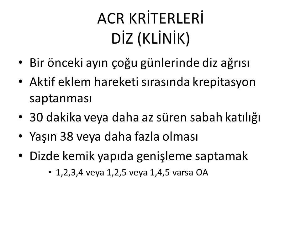 ACR KRİTERLERİ DİZ (KLİNİK)