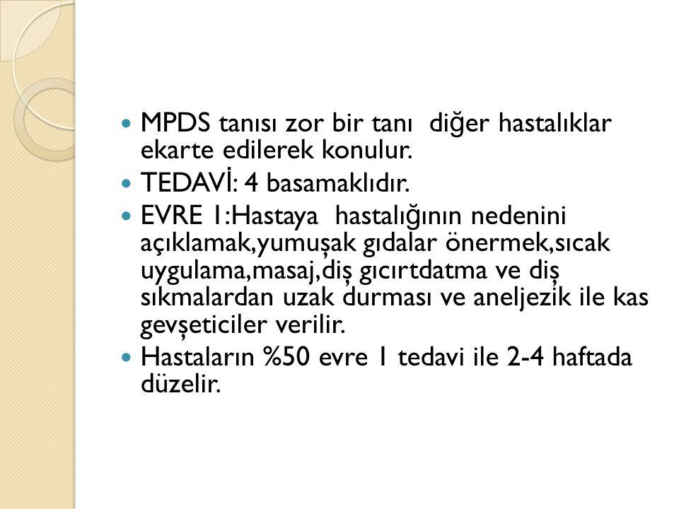 MPDS tanısı zor bir tanı diğer hastalıklar ekarte edilerek konulur.