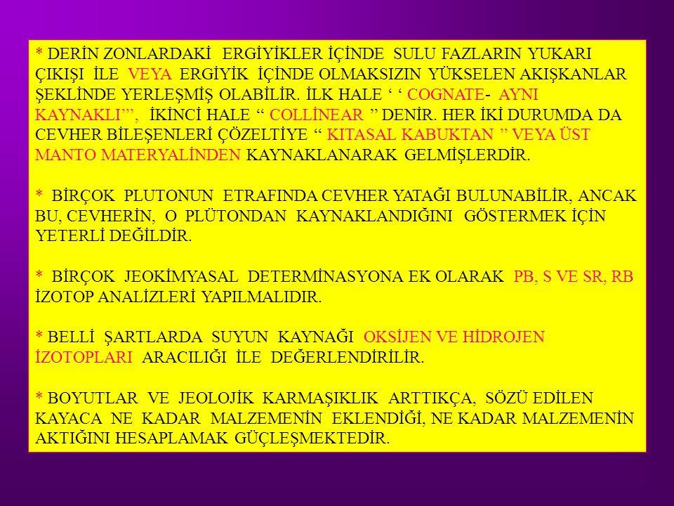 * DERİN ZONLARDAKİ ERGİYİKLER İÇİNDE SULU FAZLARIN YUKARI ÇIKIŞI İLE VEYA ERGİYİK İÇİNDE OLMAKSIZIN YÜKSELEN AKIŞKANLAR ŞEKLİNDE YERLEŞMİŞ OLABİLİR. İLK HALE ' ' COGNATE- AYNI KAYNAKLI''', İKİNCİ HALE '' COLLİNEAR '' DENİR. HER İKİ DURUMDA DA CEVHER BİLEŞENLERİ ÇÖZELTİYE '' KITASAL KABUKTAN '' VEYA ÜST MANTO MATERYALİNDEN KAYNAKLANARAK GELMİŞLERDİR.