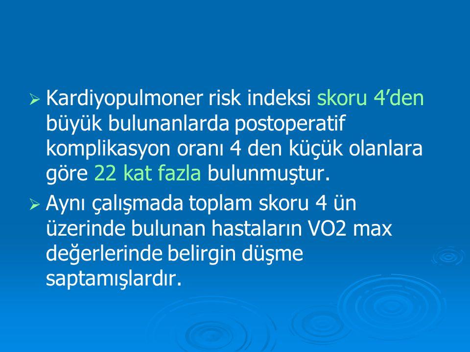 Kardiyopulmoner risk indeksi skoru 4'den büyük bulunanlarda postoperatif komplikasyon oranı 4 den küçük olanlara göre 22 kat fazla bulunmuştur.