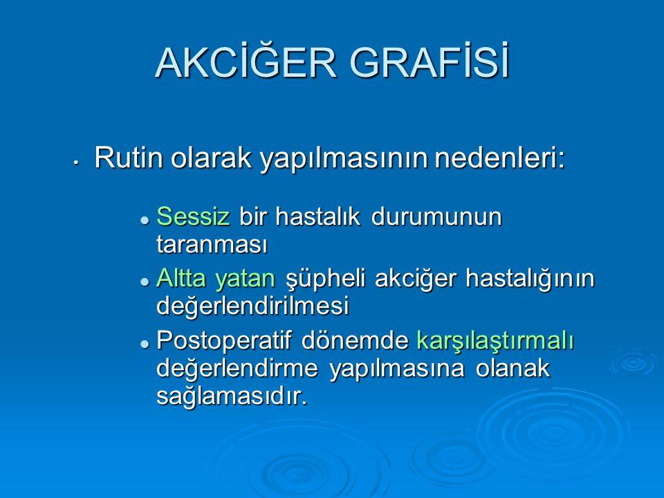 AKCİĞER GRAFİSİ Rutin olarak yapılmasının nedenleri: