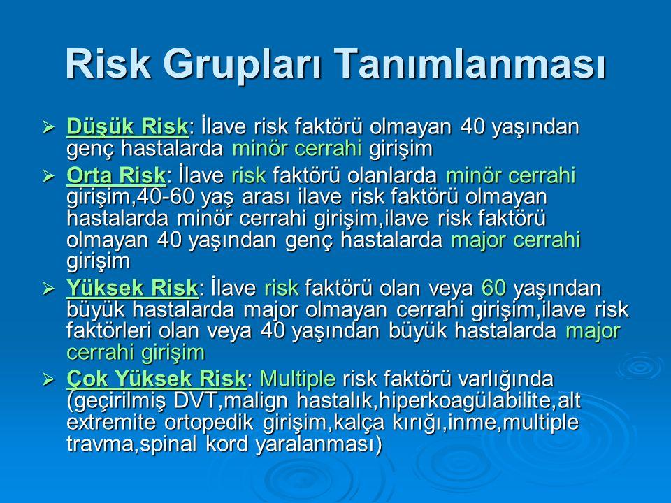 Risk Grupları Tanımlanması