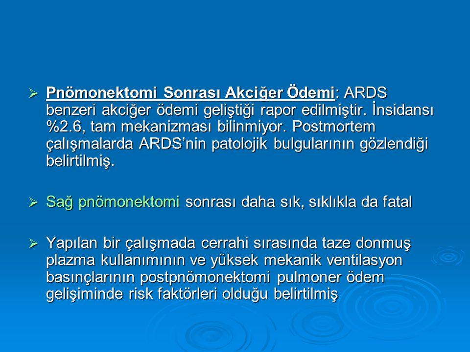 Pnömonektomi Sonrası Akciğer Ödemi: ARDS benzeri akciğer ödemi geliştiği rapor edilmiştir. İnsidansı %2.6, tam mekanizması bilinmiyor. Postmortem çalışmalarda ARDS'nin patolojik bulgularının gözlendiği belirtilmiş.