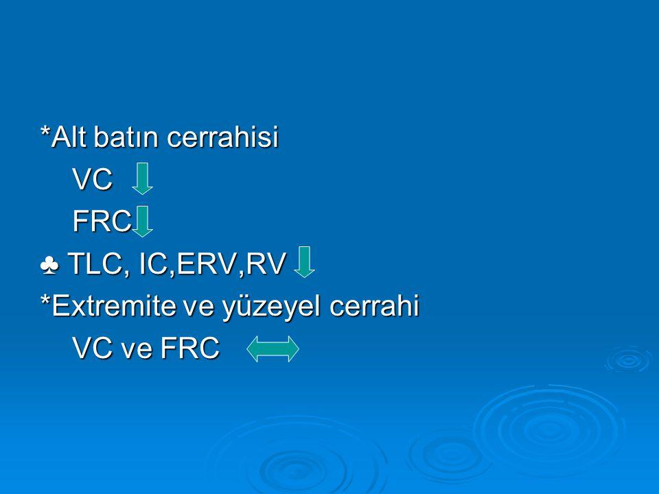 *Alt batın cerrahisi VC FRC ♣ TLC, IC,ERV,RV *Extremite ve yüzeyel cerrahi VC ve FRC