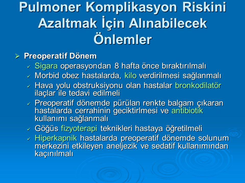 Pulmoner Komplikasyon Riskini Azaltmak İçin Alınabilecek Önlemler