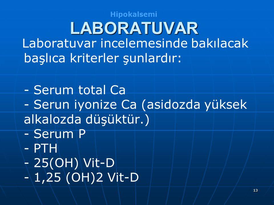 Hipokalsemi LABORATUVAR. Laboratuvar incelemesinde bakılacak başlıca kriterler şunlardır:
