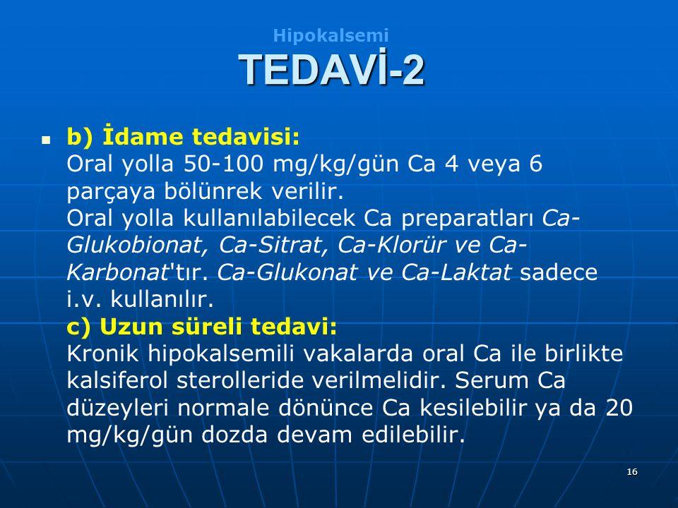 Hipokalsemi TEDAVİ-2.