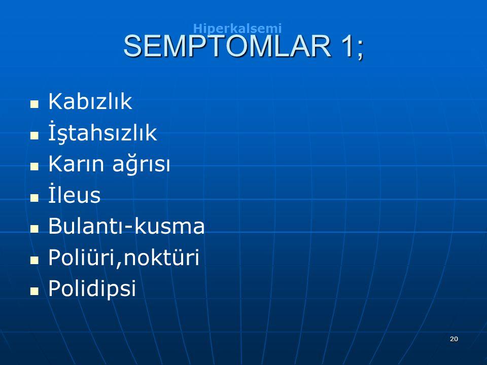 SEMPTOMLAR 1; Kabızlık İştahsızlık Karın ağrısı İleus Bulantı-kusma