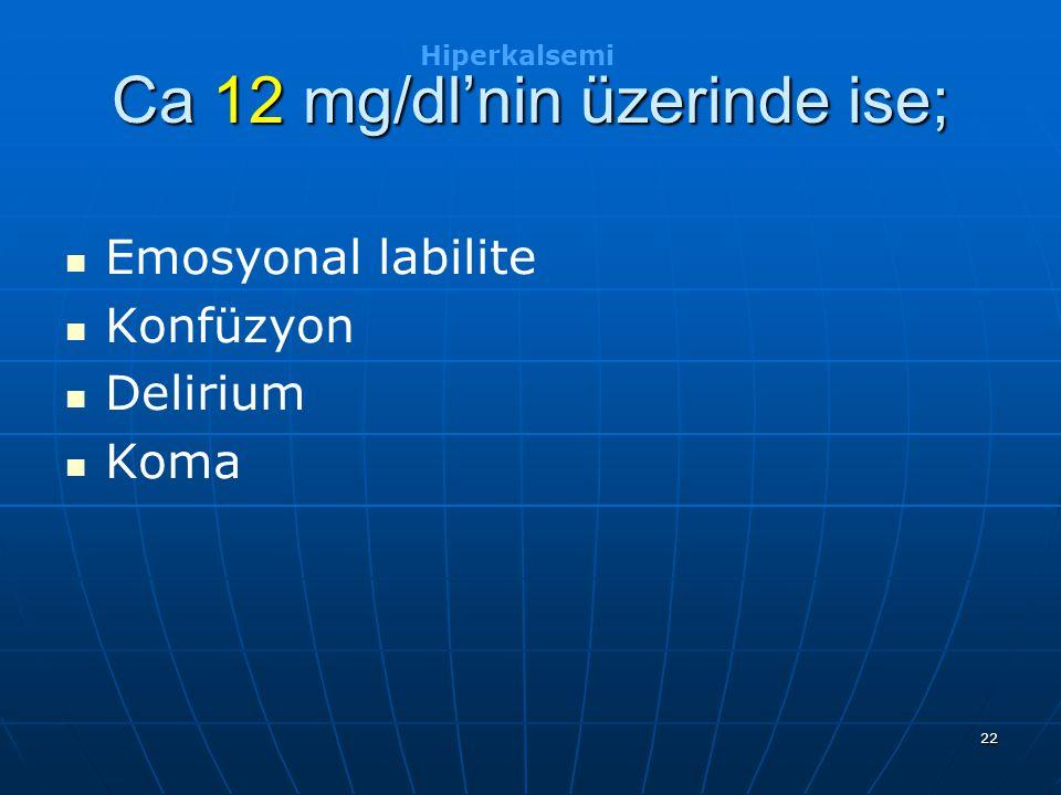 Ca 12 mg/dl'nin üzerinde ise;