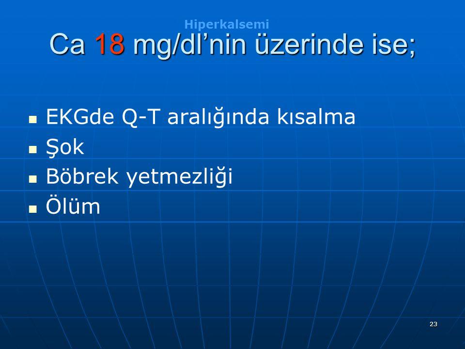 Ca 18 mg/dl'nin üzerinde ise;