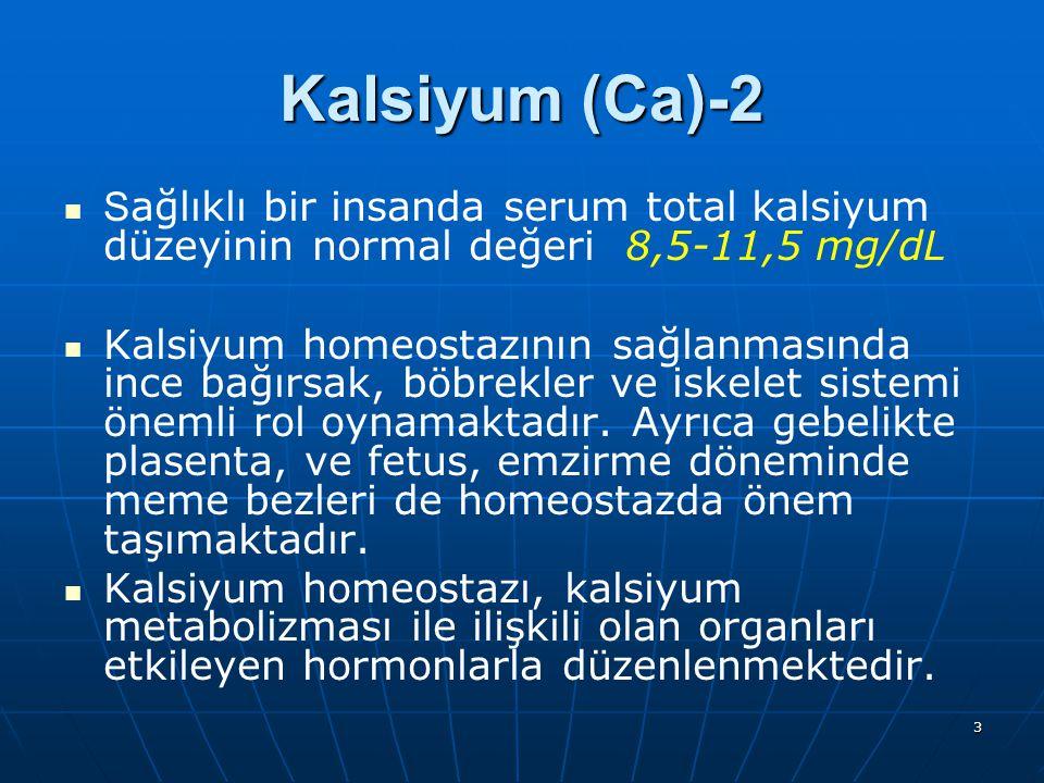 Kalsiyum (Ca)-2 Sağlıklı bir insanda serum total kalsiyum düzeyinin normal değeri 8,5-11,5 mg/dL.