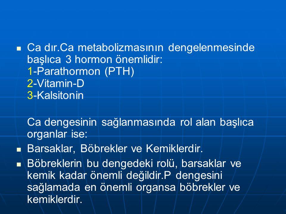 Ca dır.Ca metabolizmasının dengelenmesinde başlıca 3 hormon önemlidir: 1-Parathormon (PTH) 2-Vitamin-D 3-Kalsitonin