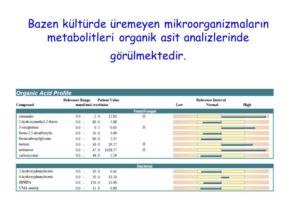 Bazen kültürde üremeyen mikroorganizmaların metabolitleri organik asit analizlerinde görülmektedir.