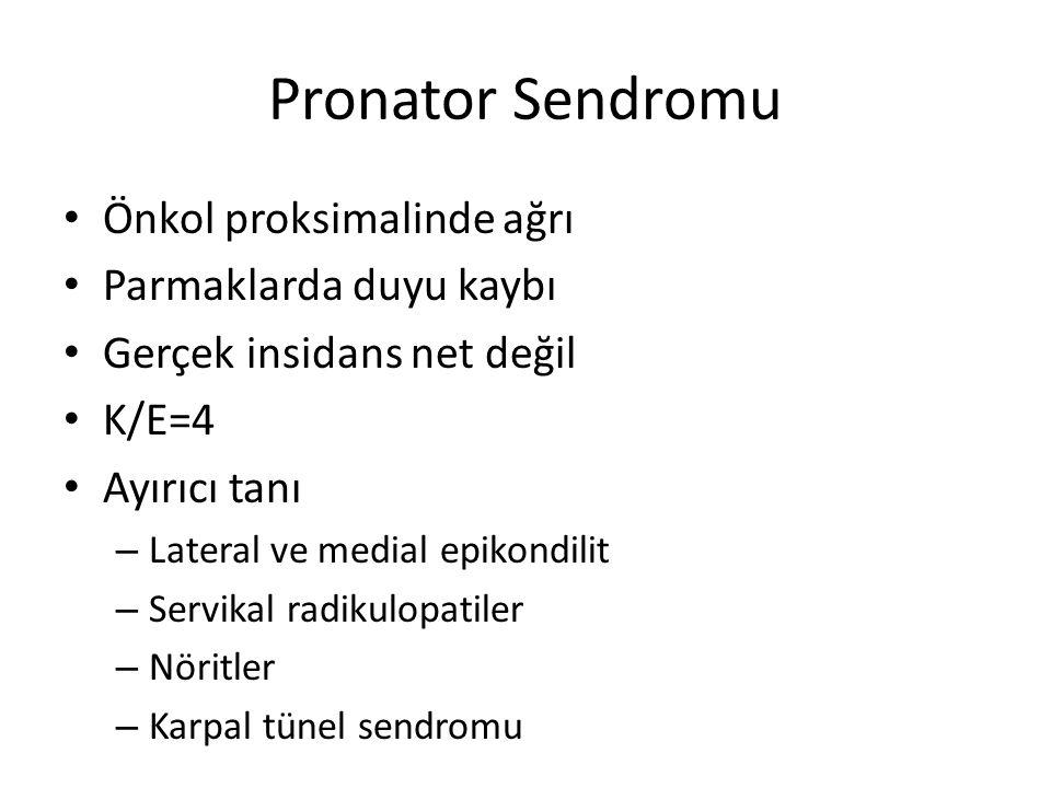 Pronator Sendromu Önkol proksimalinde ağrı Parmaklarda duyu kaybı