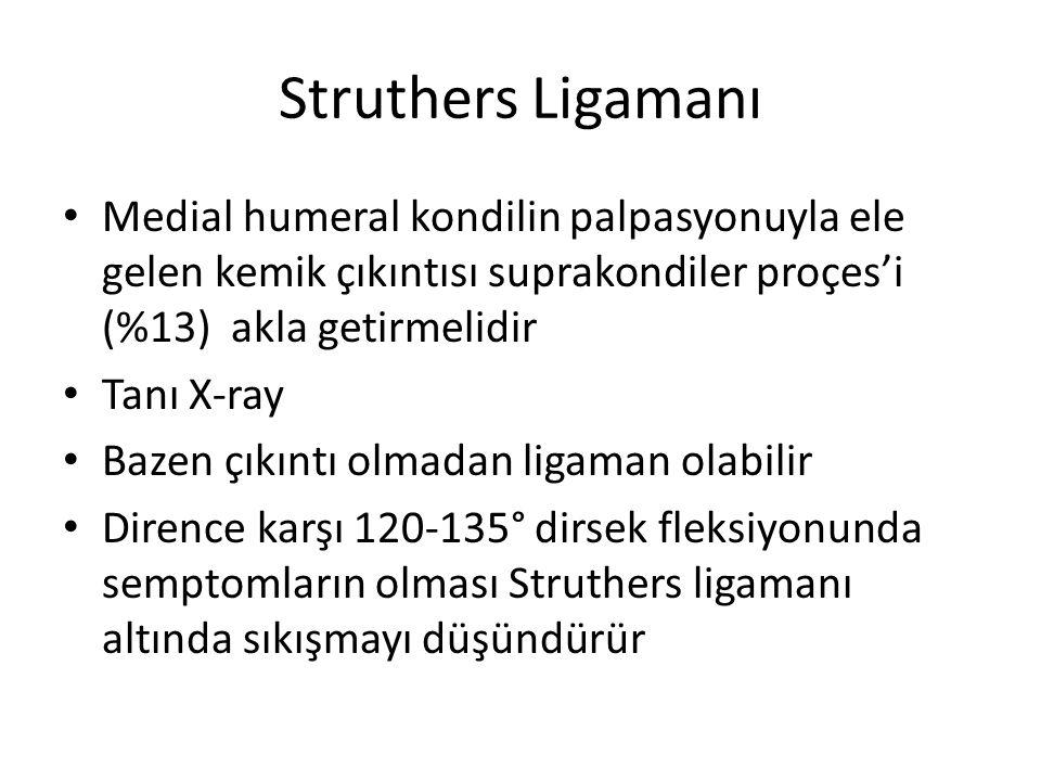 Struthers Ligamanı Medial humeral kondilin palpasyonuyla ele gelen kemik çıkıntısı suprakondiler proçes'i (%13) akla getirmelidir.