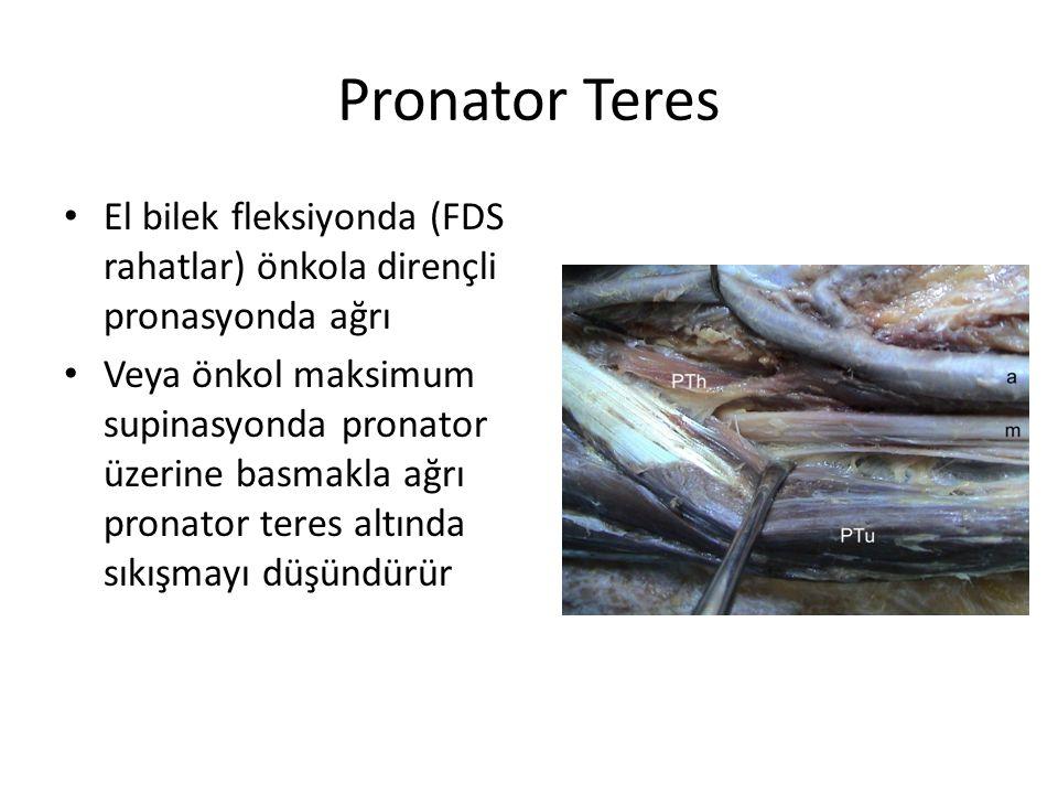 Pronator Teres El bilek fleksiyonda (FDS rahatlar) önkola dirençli pronasyonda ağrı.