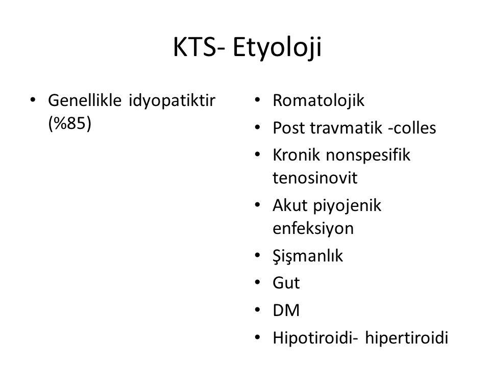 KTS- Etyoloji Genellikle idyopatiktir (%85) Romatolojik