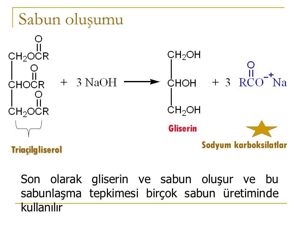 Sabun oluşumu Gliserin. Sodyum karboksilatlar. Triaçilgliserol.