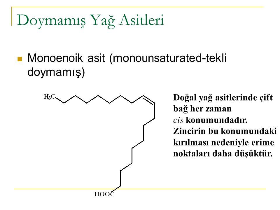 Doymamış Yağ Asitleri Monoenoik asit (monounsaturated-tekli doymamış)