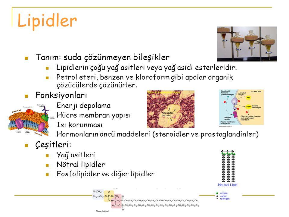 Lipidler Tanım: suda çözünmeyen bileşikler Fonksiyonları Çeşitleri: