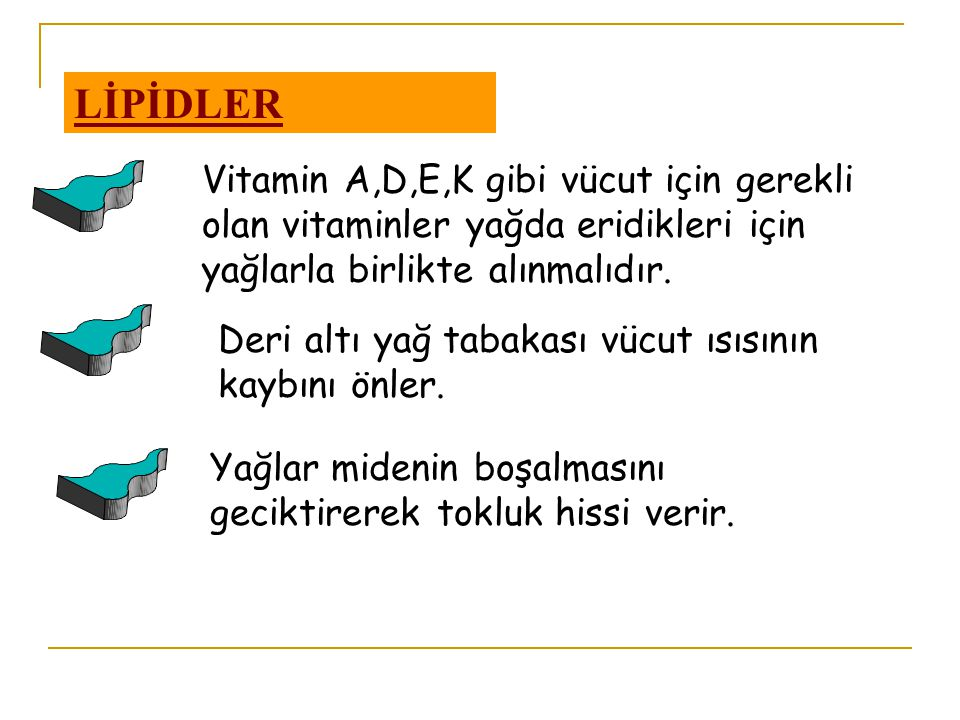LİPİDLER Vitamin A,D,E,K gibi vücut için gerekli olan vitaminler yağda eridikleri için yağlarla birlikte alınmalıdır.